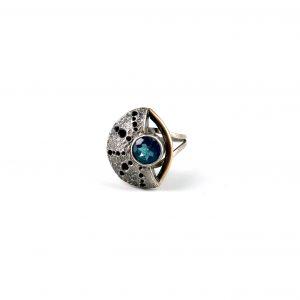 """Caitlin Zeller, """"Sargasso"""", ring, sterling silver, gold fill, patina, & light blue topaz, size 6.25"""