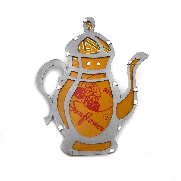 "Caitlin Zeller, ""Sunflower Tea"", brooch, recycled tea tin & steel, 2.25"" x 3"""