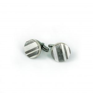 "Caitlin Zeller, ""Striped Cufflinks"", hollow-formed - sterling silver and etched steel"