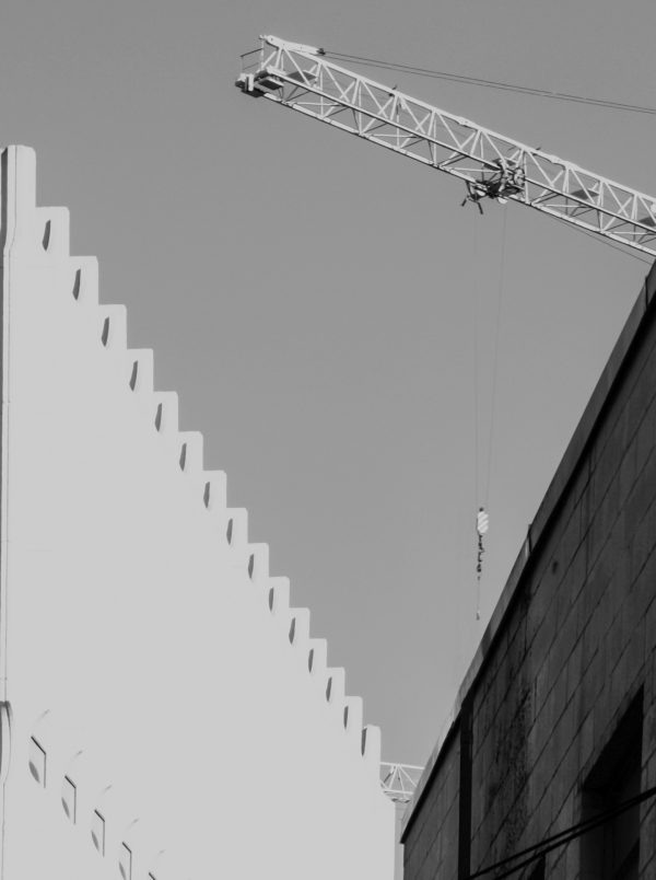 """Andrew Wohl, """"Crane and Two Buildings"""", Digital Photograph Printed on Picture Rag Photo Paper, 18"""" x 24"""""""