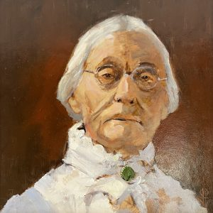 """John Passaro, Susan Anthony, Leader of the Suffrage Movement, Oil on Panel, 13.5"""" x 13.5"""" Framed"""