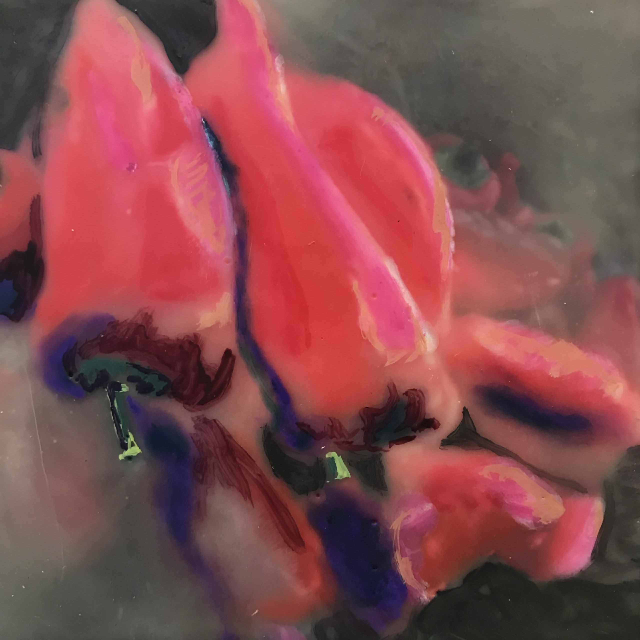 """Gigia Kolouch, Peppers, Encaustic Photograph, 5"""" x 5"""""""