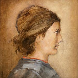 "John Passaro, Jeanne D'Arc, the Patron Saint of France, Oil on Panel, 13.5"" x 13.5"" Framed"