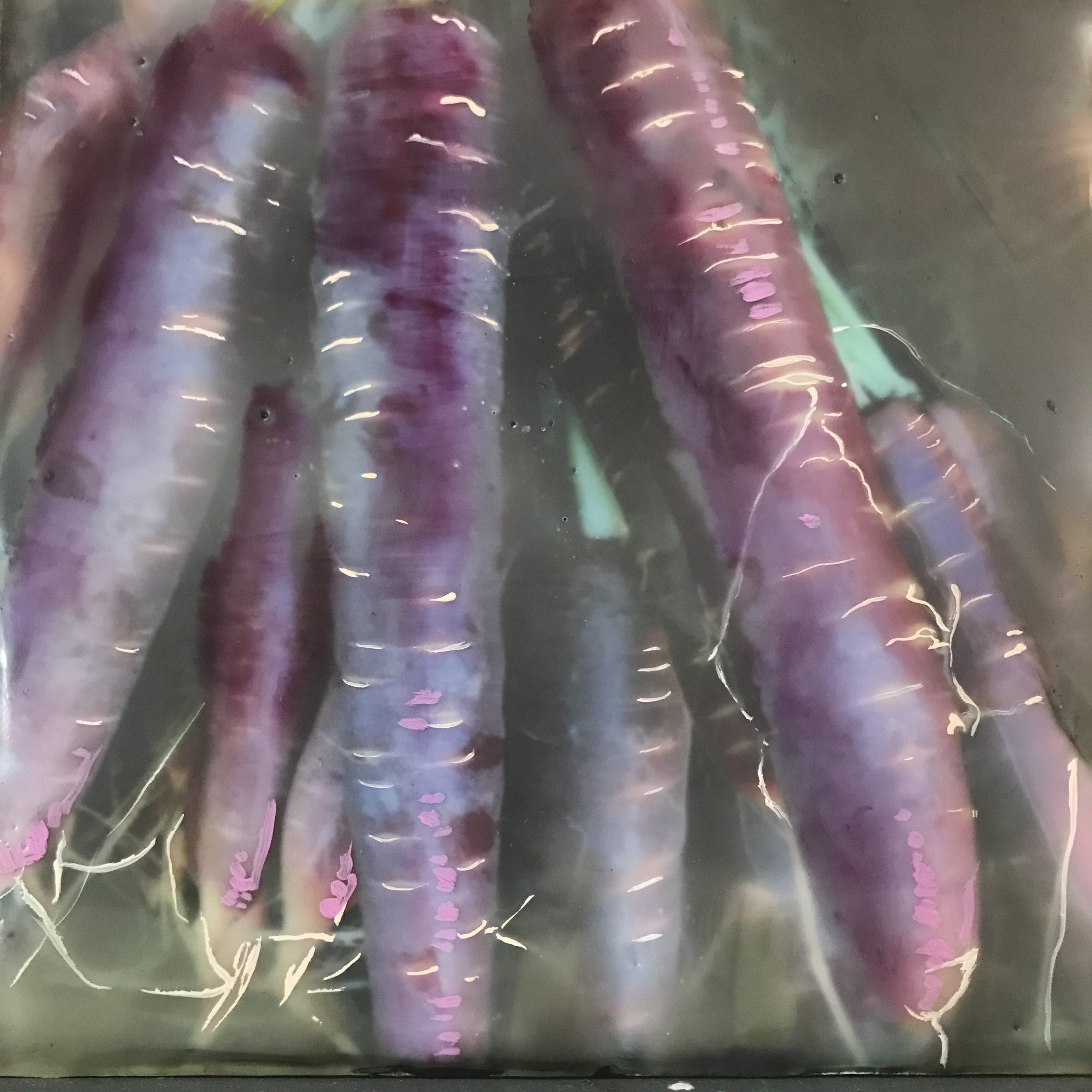 """Gigia Kolouch, Dragon Carrots, Encaustic Photograph, 5"""" x 5"""""""