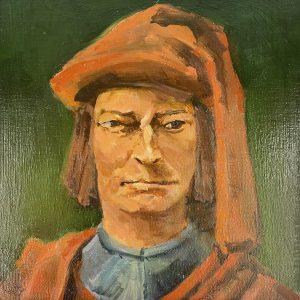 """John Passaro, Lorenzo de' Medici, Patron of Italian Renaissance, Oil on Panel, 13.5"""" x 13.5"""" Framed"""