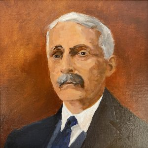 """John Passaro, Andrew Mellon, Founder of the National Gallery, Oil on Panel, 13.5"""" x 13.5"""" Framed"""