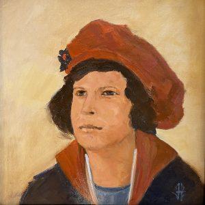 "John Passaro, Elizabeth Alexandra Windsor, Elizabeth II, Oil on Panel, 13.5"" x 13.5"" Framed"