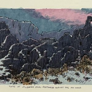 """Leon Loughridge, Tufts of Stubborn Snow Feathered Against the Old Walls, Serigraph, 15"""" x 24"""" Framed"""
