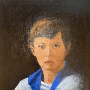 "John Passaro, Alexei Nikolaevich Romanov, Tsarevich of Russia, Oil on Panel, 13.5"" x 13.5"" Framed"