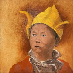 "John Passaro, Tensin Gyatso, 14th Incarnation of the Dalai Lama, Oil on Panel, 13.5"" x 13.5"" Framed"