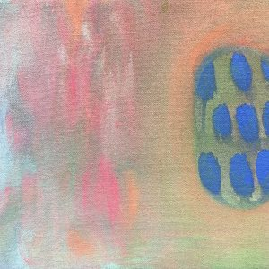 Abstract painting with pastel colors and blue dots
