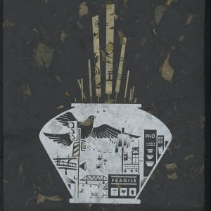 Vietnamese vase with cityscape and bird flying on black marble paper