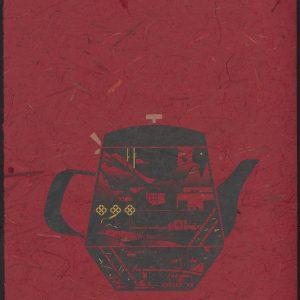 Vietnamese tea kettle with cityscape on red marble paper.