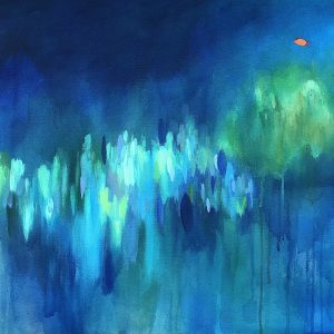 Abstract blue and green painting with ovals and small orange dots