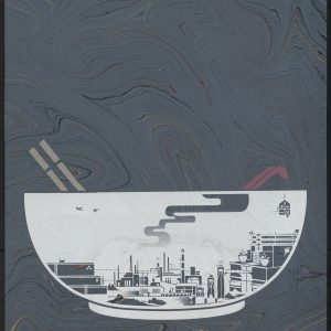 Vietnamese bowl and cityscape with chopsticks, and spoon on grey marble paper.