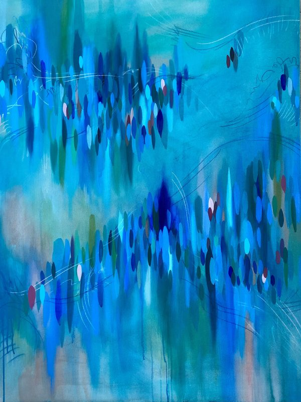 Abstract blue painting with blurs and ovals