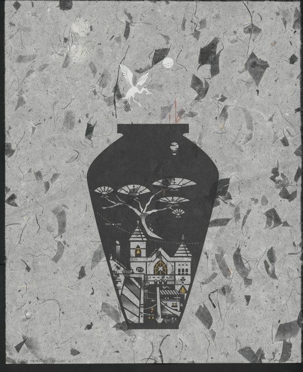 Vietnamese vase with tree and church on grey marble paper