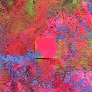 Abstract pink and red painting with blue streaks and squares
