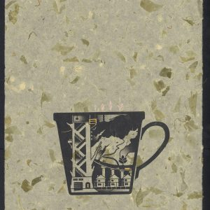 Vietnamese mug with staircase and houses on tan marble paper
