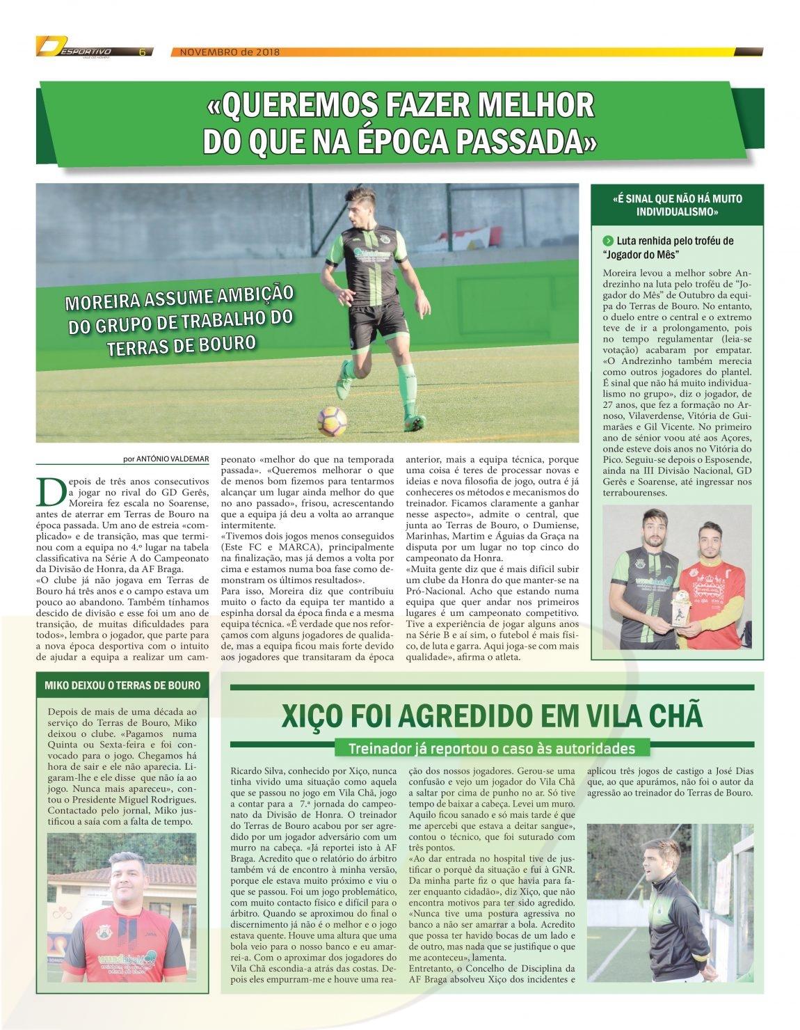 """Moreira foi o """"Jogador do Mês"""" do Terras de Bouro"""