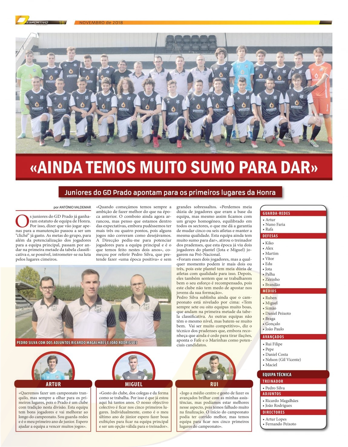 Juniores do GD Prado continuam a subir na tabela classificativa