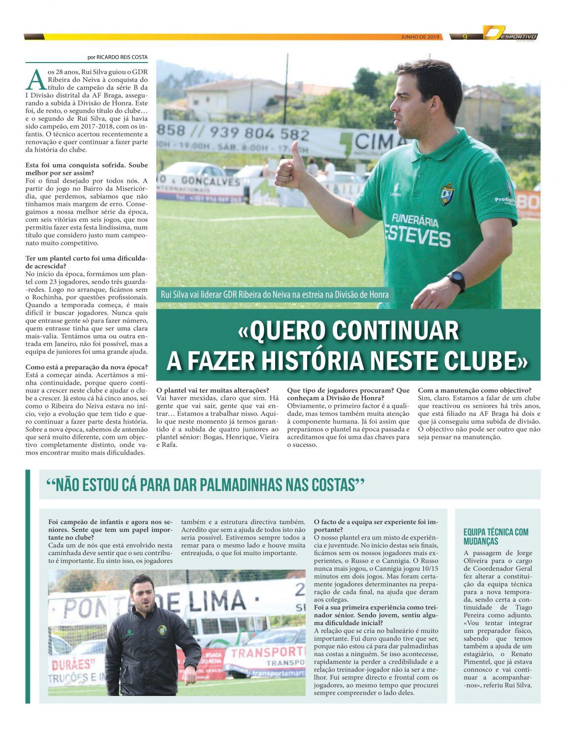 Rui Silva, treinador do Ribeira do Neiva