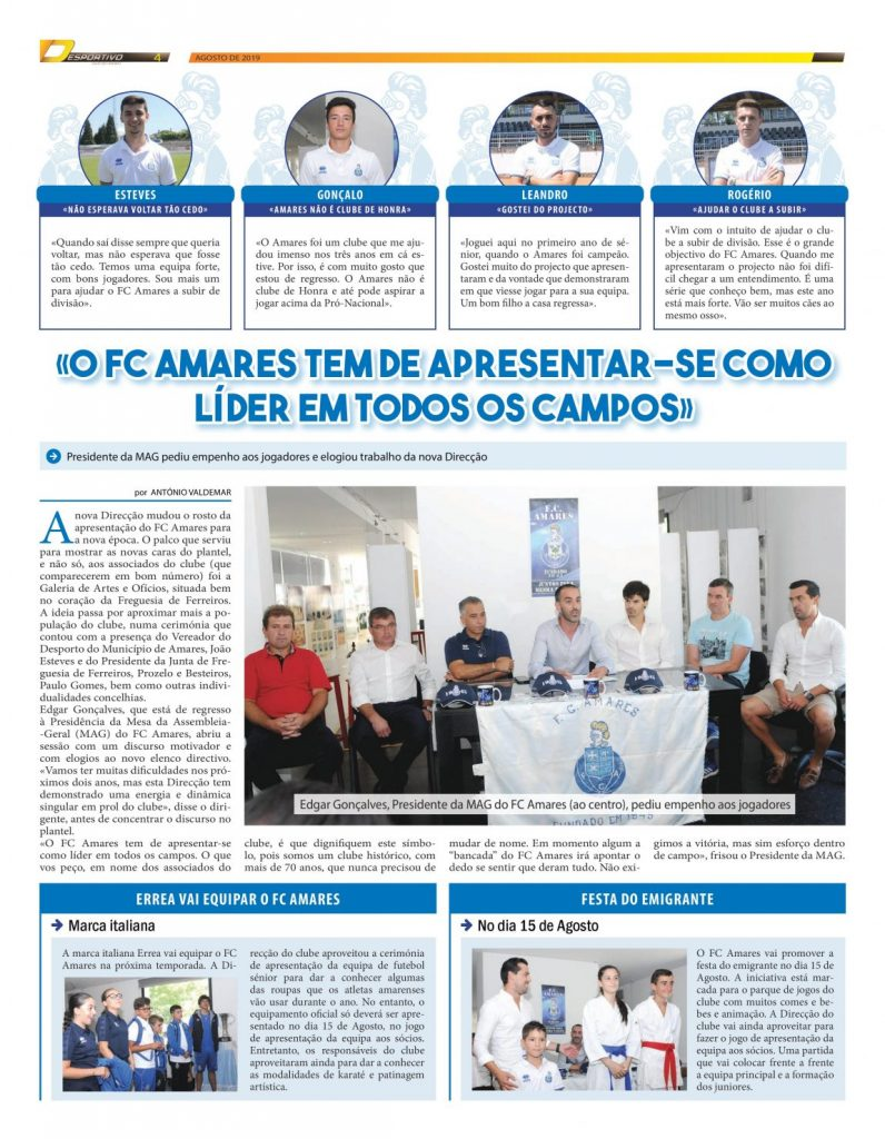 Presidente da MAG do FC Amares com discurso ambicioso