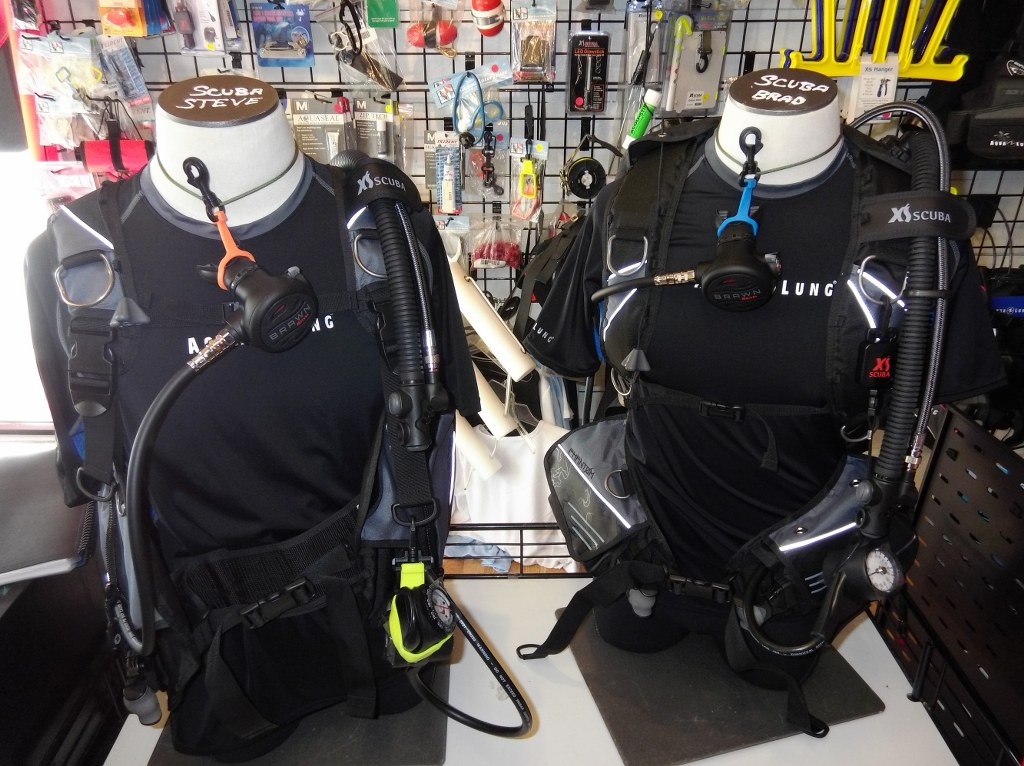 dummies wearing dive gear