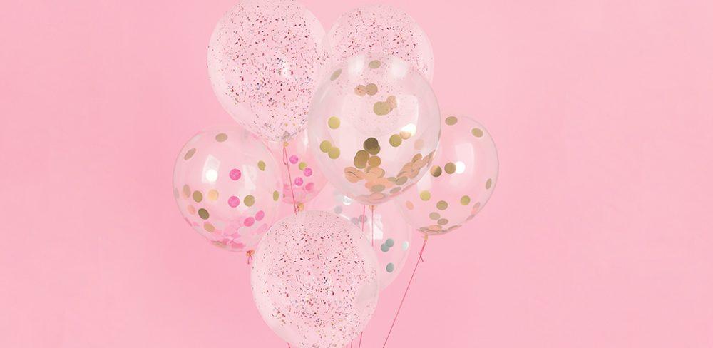 ballon confettis evjf rose