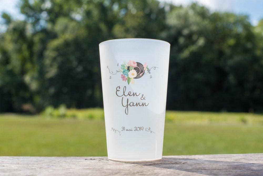 verre plastique mariage