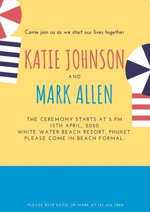 invitation thème plage