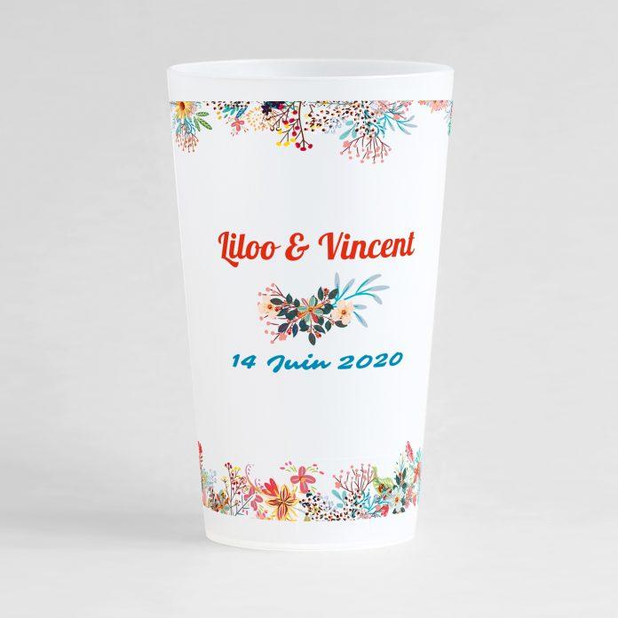 Un ecocup givré de dos avec un thème mariage, des frises florales d'ornement.