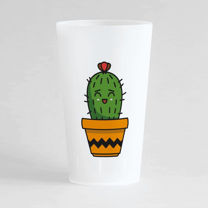 Un ecocup givré de face personnalisable avec un thème anniversaire et un motif cactus.