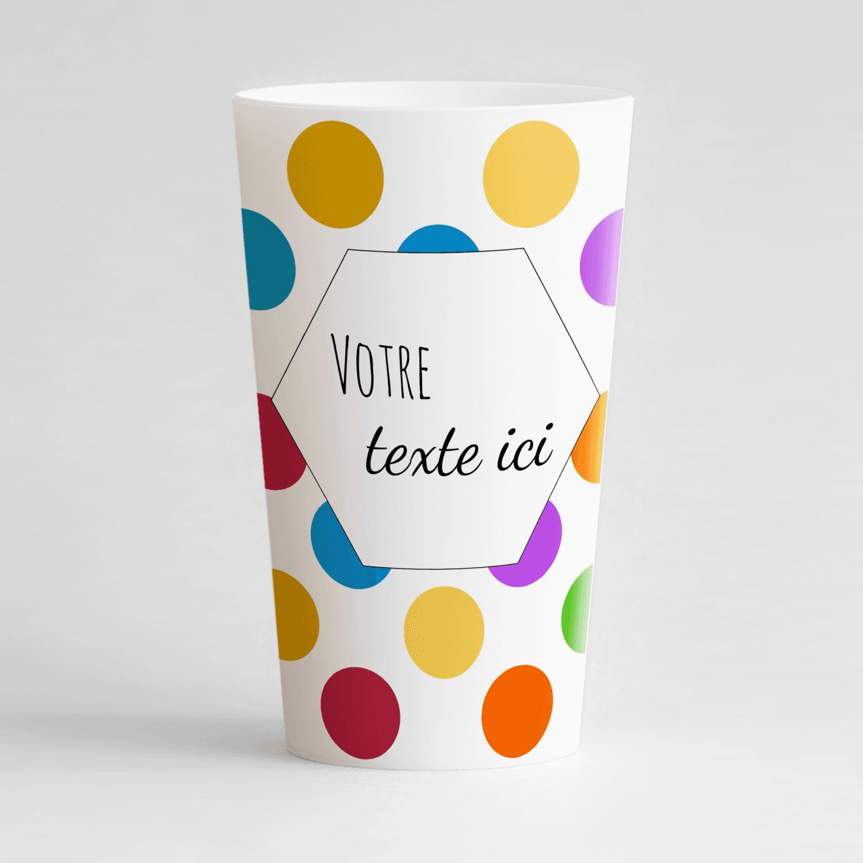 Un ecocup blanc de face avec des gros points colorés et une zone de texte personnalisable.