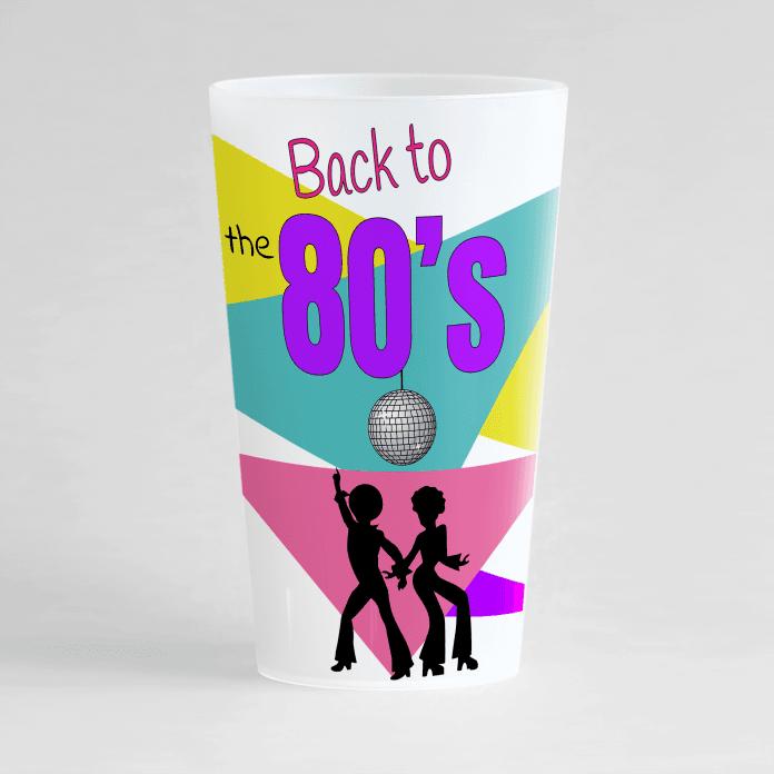 Un ecocup givré de face avec un thème de soirée back to the 80's, danseurs et boule à facette.