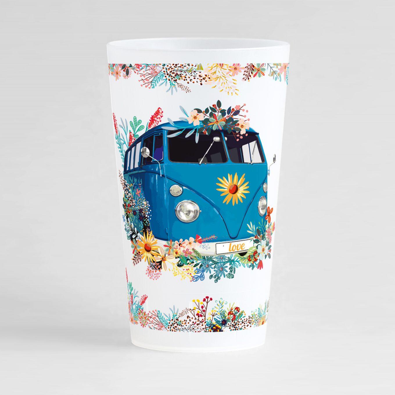 Un ecocup givré de face avec un thème mariage, un combi bleu canard et des frises florales d'ornement.