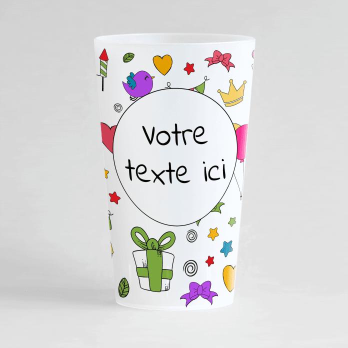 Un ecocup givré de face à personnaliser avec votre texte, et avec des dessins colorés.