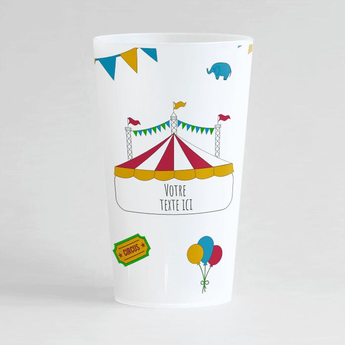 Un ecocup givré de face personnalisé avec un thème du cirque et posibilité d'ajouter votre texte.