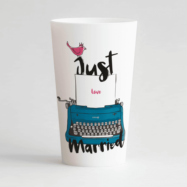 Un ecocup blanc de face personnalisé avec un thème mariage, une machine à écrire et des petits oiseaux