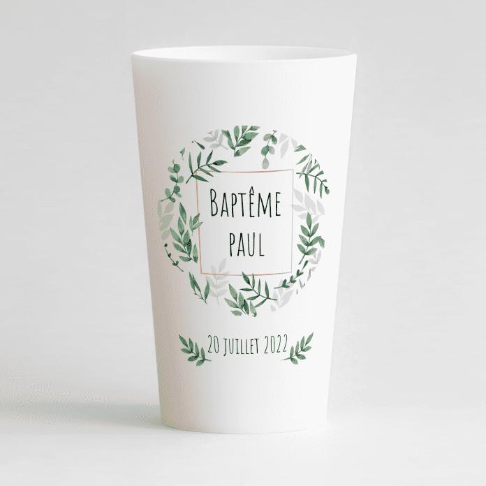 Un ecocup blanc de face pour un baptême sur le thème végétal