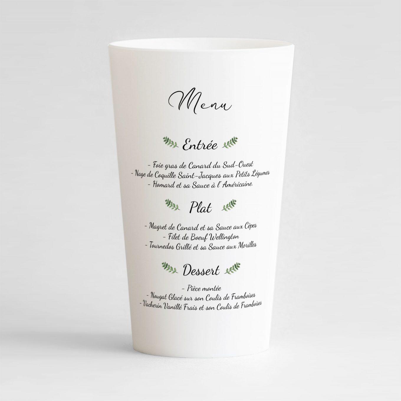 Un ecocup blanc de dos avec le menu du mariage