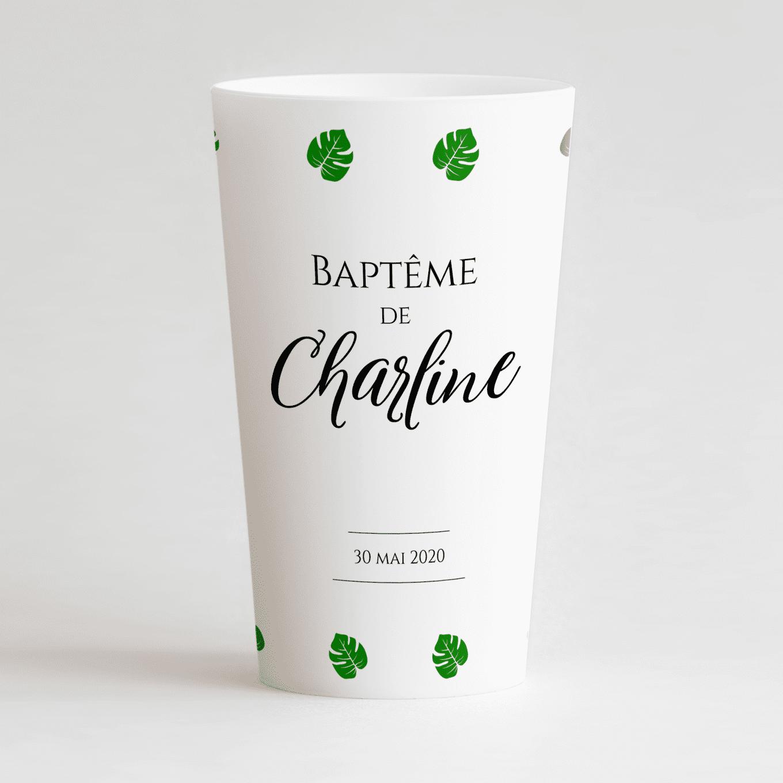 Un ecocup blanc de face avec un thème jungle pour un baptême.