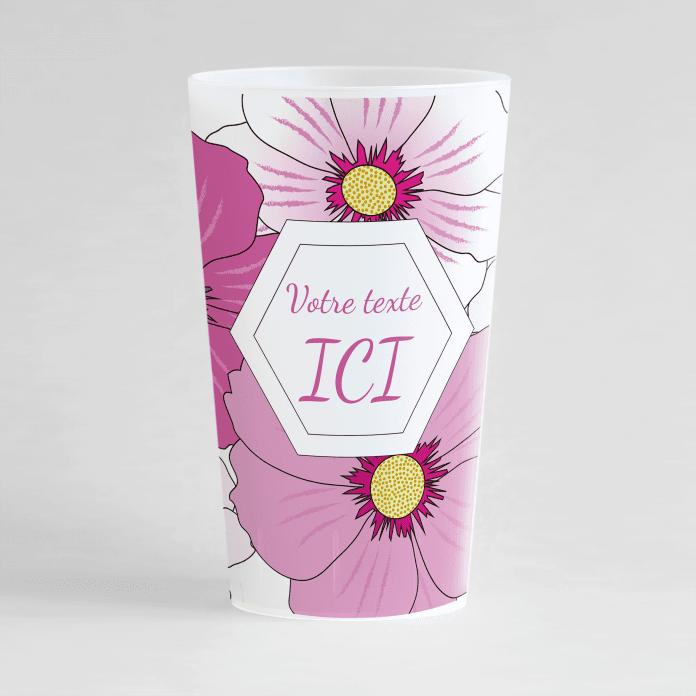 Un ecocup givré de face avec des grandes fleurs roses sur toute sa surface et une zone de texte à personnaliser.