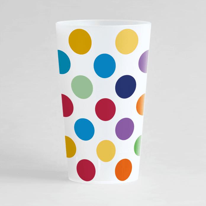 Un ecocup givré de face avec de gros points multicolores.
