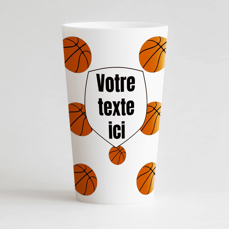 Un ecocup blanc de face pour une équipe ou un club de basket.