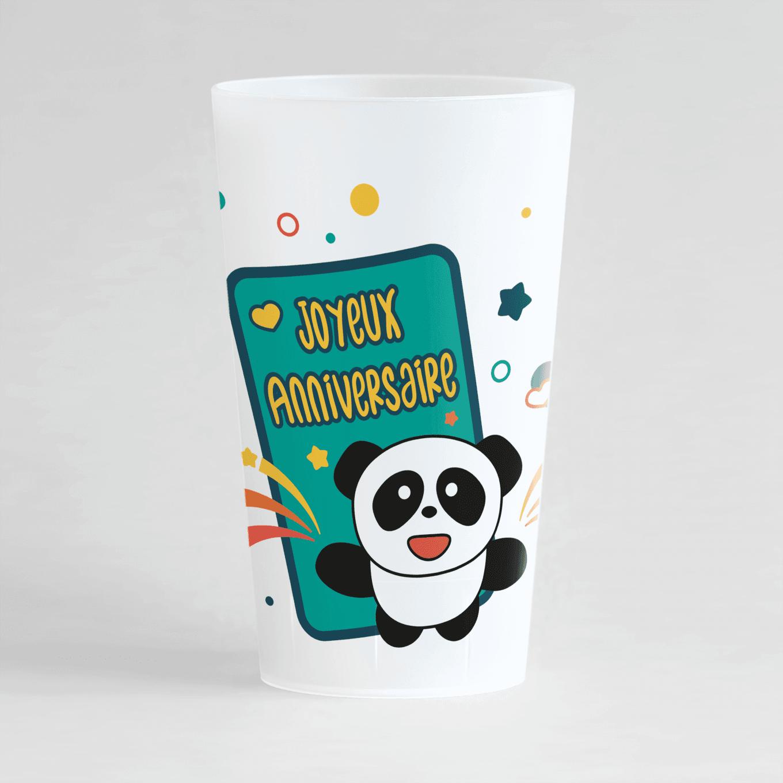 Un ecocup givré de face avec un panda et une pancarte joyeux anniversaire, personnalisable avec prénom et âge.