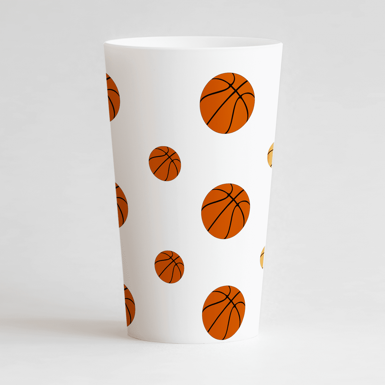 Un ecocup blanc de dos avec des ballons de basket.