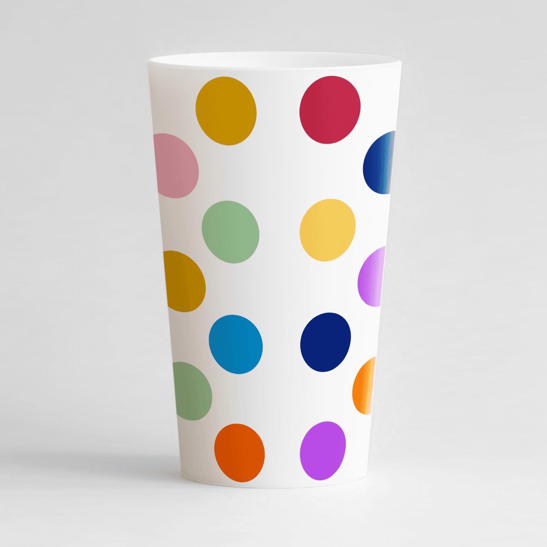 Un ecocup blanc de dos avec de gros points multicolores.