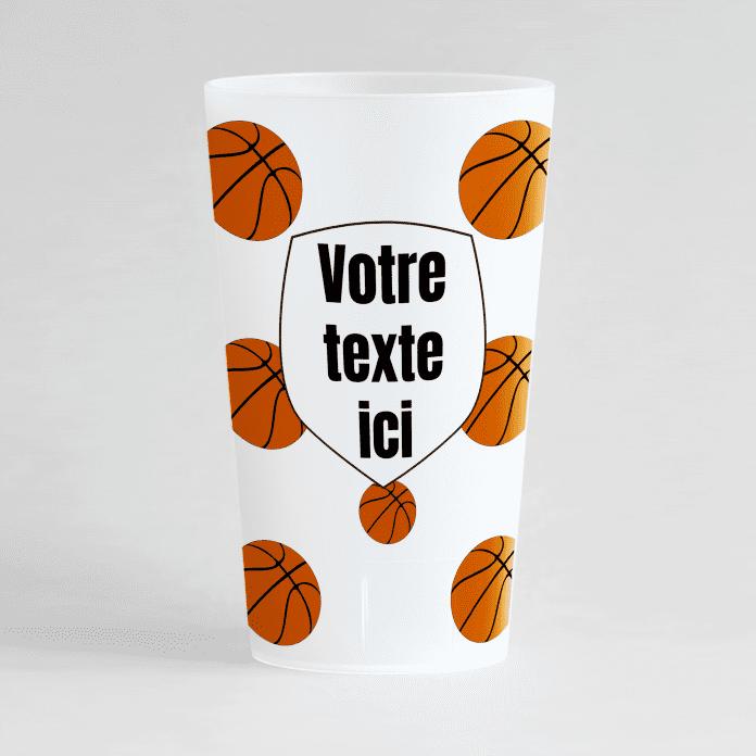 Un ecocup givré de face pour une équipe ou un club de basket.