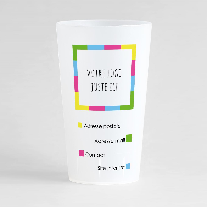 Un ecocup givré de face pour votre entreprise avec des couleurs vives et des zones pour votre logo et vos coordonnées